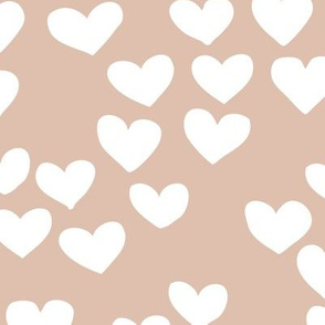 The minimalist boho heart sweet lovers valentine design nursery baby beige white
