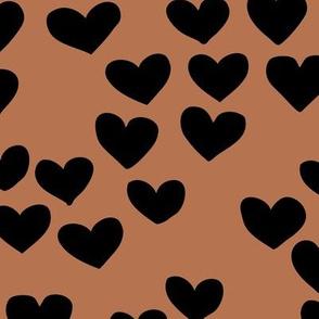 The minimalist boho heart sweet lovers valentine design nursery baby rust copper brown black