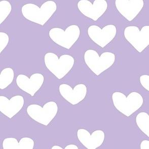 The minimalist boho heart sweet lovers valentine design nursery baby lilac purple  white