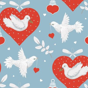 Dove Hearts Peace And Love - Medium