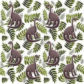 Modern Dinosaur Pattern - Olive Green