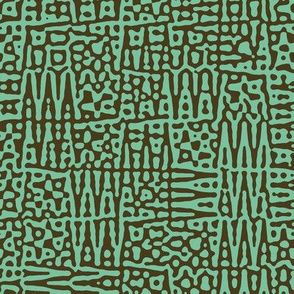 zigzag checquer in bronze and sea green - Turing pattern 1