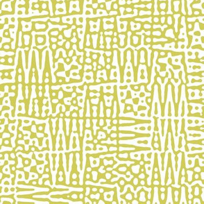 zigzag checquer in white and old gold - Turing pattern 1