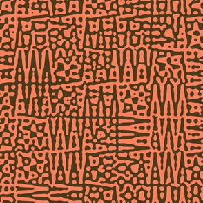 zigzag checquer in coral and bronze - Turing pattern 1