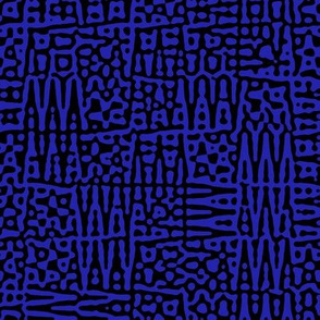 zigzag checquer in cobalt blue and black - Turing pattern 1