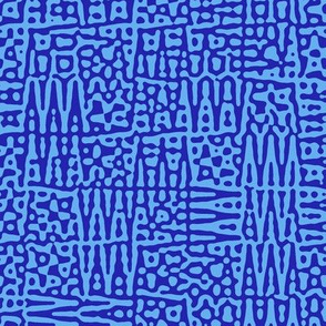 zigzag checquer in neon blue - Turing pattern 1