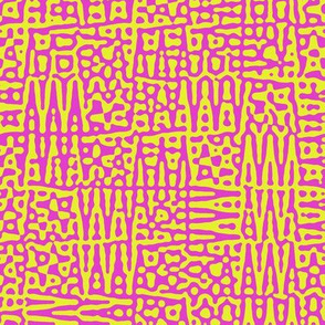 zigzag checquer in hot pink and yellow  - Turing pattern 1