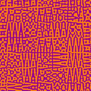 zigzag checquer in purple and orange - Turing pattern 1