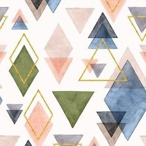 Watercolor & Gold Triangles