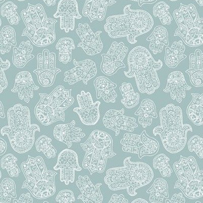 Soft Moroccan style hamsa hand of fatima lucky traditional boho yoga texture design moody mint blue SMALL