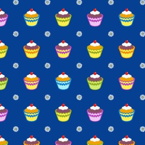 Cupcakes and Daisies - blue