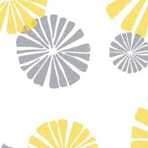large scale yellow and gray abstract flowers - block print