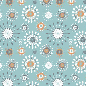 Spoonflowers on turquoise