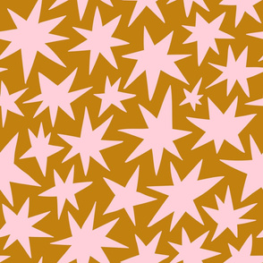 Pink stars on golden (large scale)