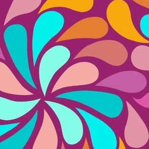 In a Spin - large, pink,teal,magenta