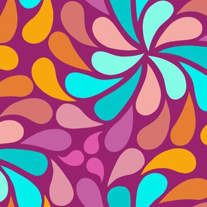 In a Spin - pink, teal and magenta