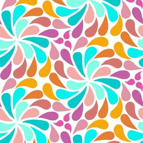 In a Spin - small, pink, teal, white