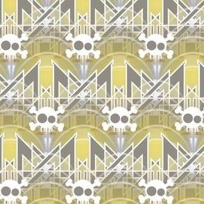 Art Deco Hamlet -- Small Scale Geometric Skull --  Illuminating Yellow, Ultimate Gray, Gold, White