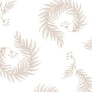 Sundews - Cool Sand Beige on White
