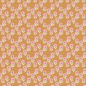 Messy sunflower garden daisy blossom and flower leaves boho nursery Scandinavian style pink yellow peach girls mini