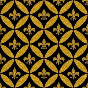 Fleur de Lis Harlequin Black Gold Faux Glitter