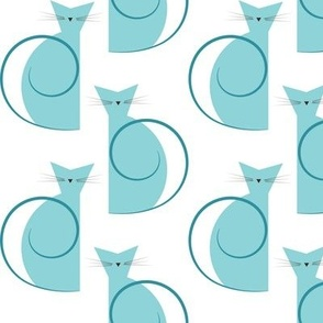 cats - luna cat yellow and gray - geometric cats