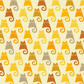 cats - figaro cat shades of yellow - hand-drawn cats