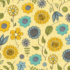 Summer Flowers in Yellow and Blue