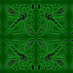 Dragonfly blockprint  Greens - mirrored-
