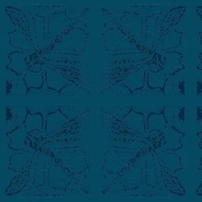 Dragonfly blockprint  teal - mirrored-