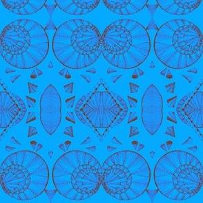 Geometric siena on blue-
