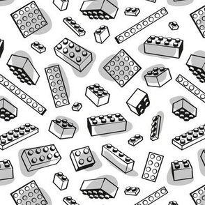 Small scale // Play with me // white background black and grey kids plastic building bricks blocks toys