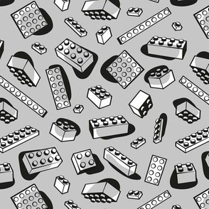 Small scale // Play with me // grey background black and white kids plastic building bricks blocks toys