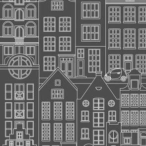 "Amsterdam houses, gray, XL, 18"""