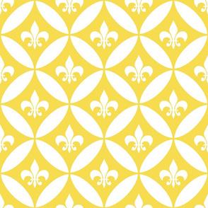 Fleur de Lis | Harlequin - Yellow | White