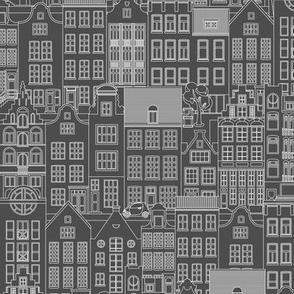 "Amsterdam houses, gray, L, 10.5"""