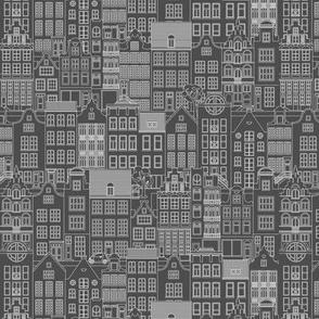 "Amsterdam houses, gray, M, 7"""
