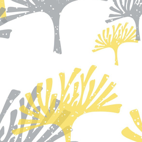 large scale yellow and gray abstract leaves - block print