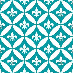 Fleur de Lis | Harlequin - Peacock Blue | White