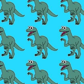Cute Velociraptor - on blue