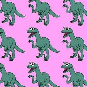 Cute Velociraptor - on pink