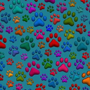 Cat Paws 10 inch 3D with petrol green background