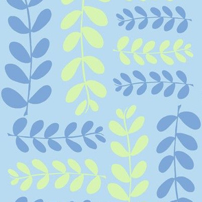 Olive Branches, 2 (aqua, lime & deep sky)