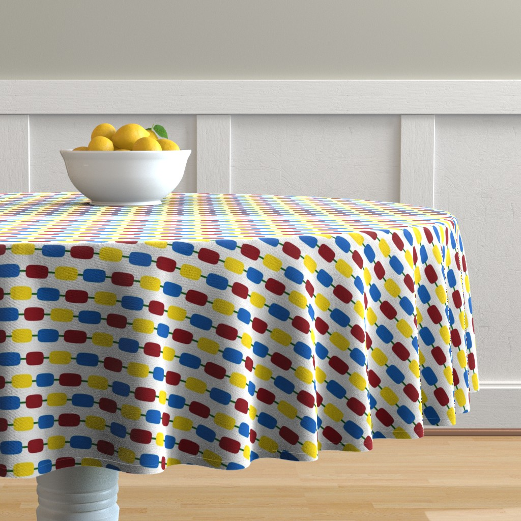 Malay Round Tablecloth featuring KindergartenBeads by jozanehouse