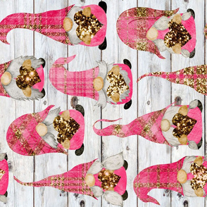 Valentine Plaid Glitter Gnomes on Shiplap Rotated - large scale