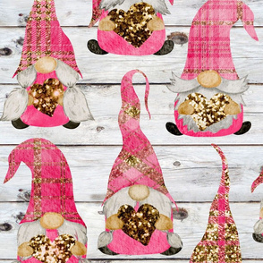 Valentine Plaid Glitter Gnomes on Shiplap - large scale