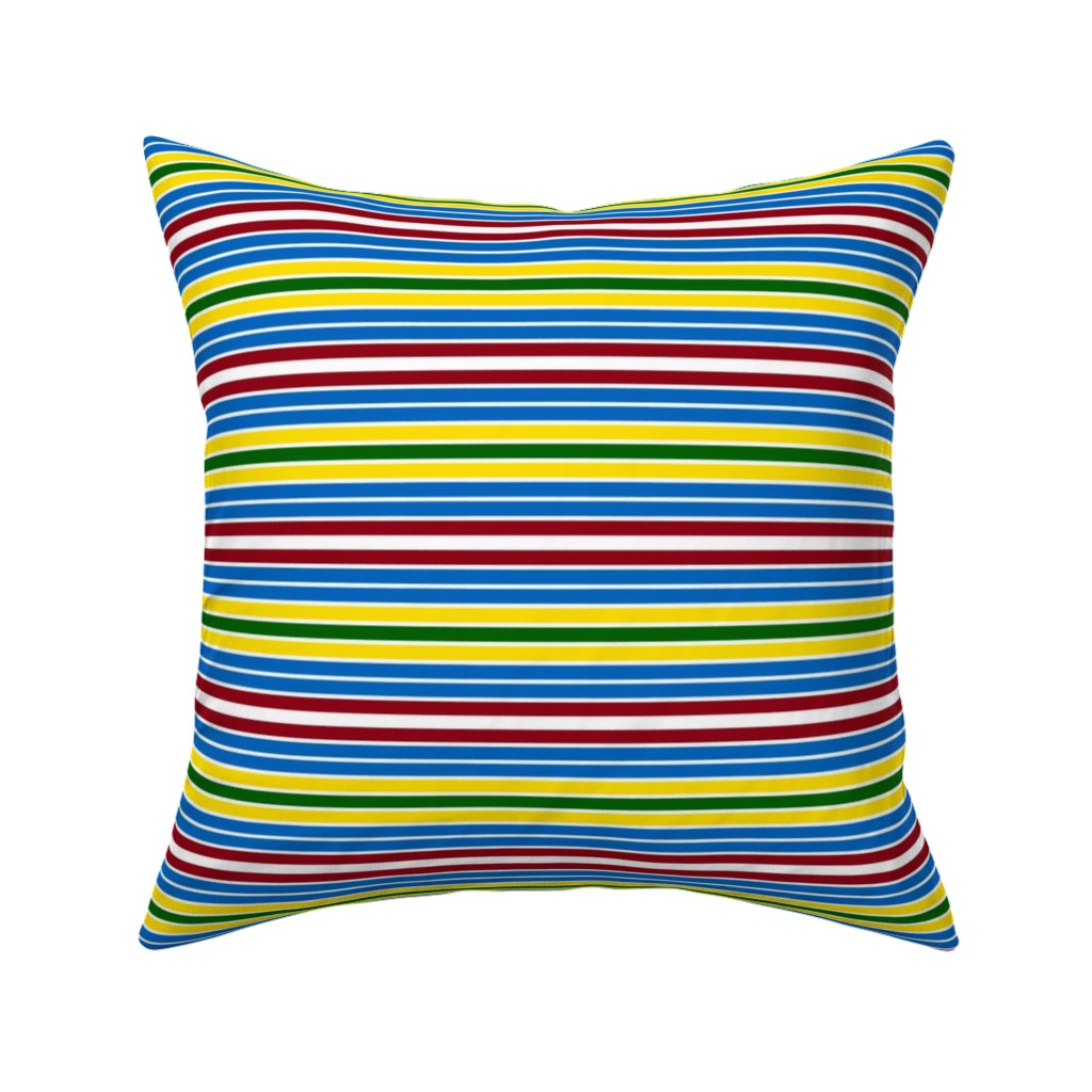 Catalan Throw Pillow featuring Schoolhouse Stripes by jozanehouse
