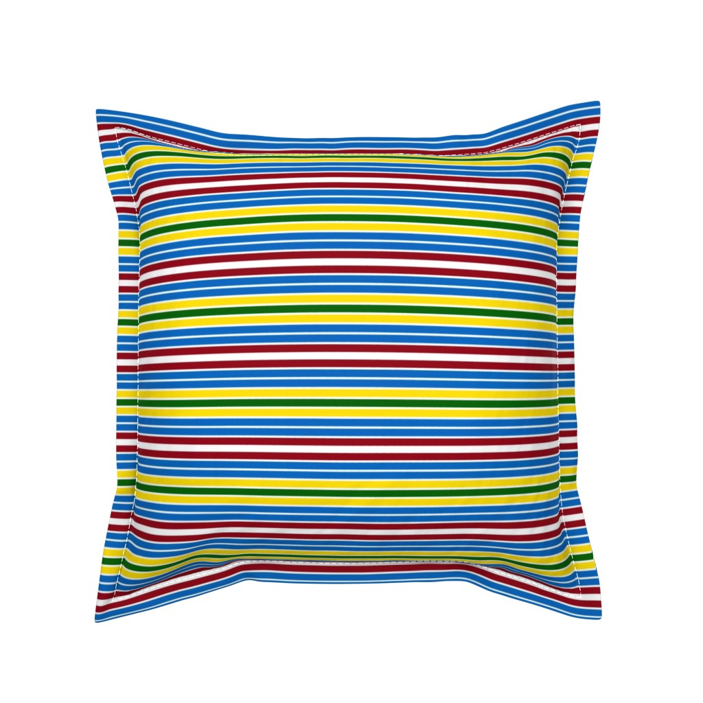 Serama Throw Pillow featuring Schoolhouse Stripes by jozanehouse