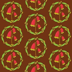 Festive Floral Wreaths on Bush Brown - Extra Small Scale