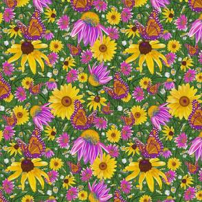med-Pat's wildflowers on green weave